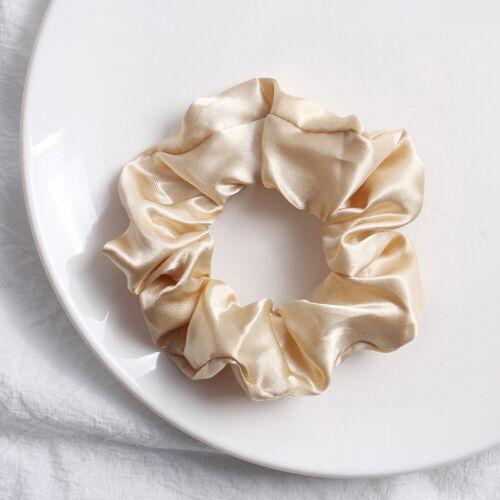 Silky Satin Hair Scrunchies Elastic Solid Color Hair Tie Rope Hair Ring Ponytail
