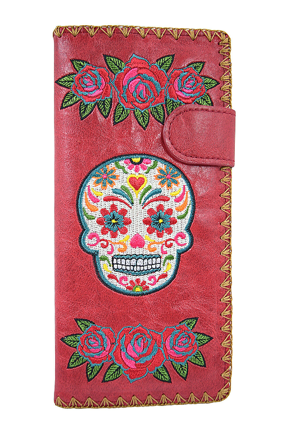 Lavishy Rose & Sugar Skull Day of the Dead Embroidered Large Wallet