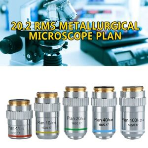 20-2-RMS-Metallurgical-Microscope-Plan-Achromatic-Objective-Lens-4X-10X-40X-100X
