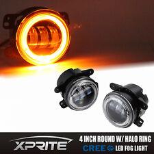 4 inch 30W CREE LED Fog Light Driving Lamp DRL Amber Halo Angel Jeep Wrangler JK