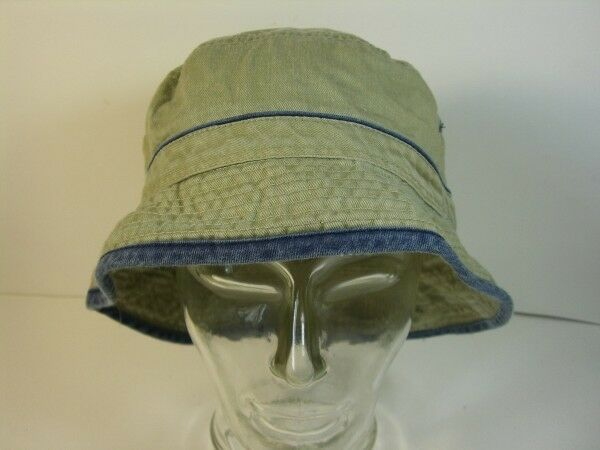 Hat Fishing Hat Hats Size 56 Beige Jeans with Striped Blue Genuine Vintage