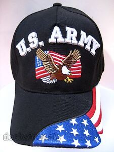 U-S-ARMY-VETERAN-Cap-Hat-w-Eagle-Flag-amp-Flag-Military-Black-Free-Shipping