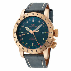 Glycine GL0167 Men's Airman 44 Bronze GMT Automatic 44mm Blue Leather Watch