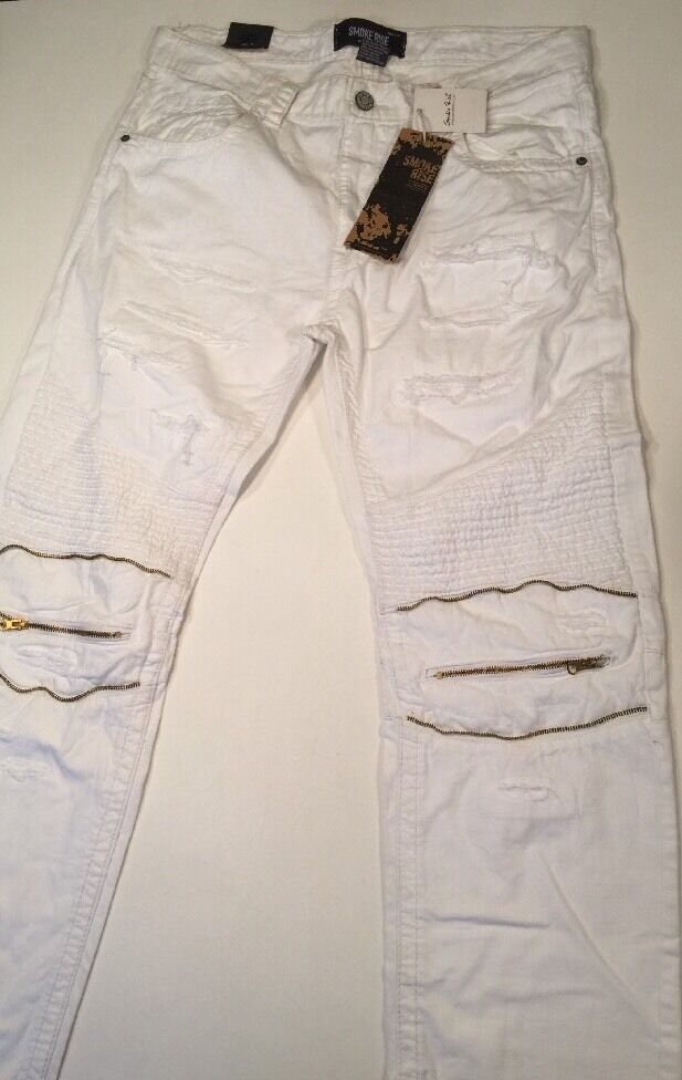 Smoke Rise Distressed Jeans White Size 40x32 NWT Slim Straight MSRP