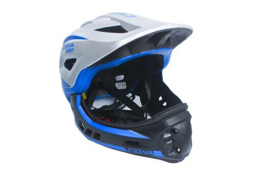 CIGNA TT32 Plus Kids Cycle Bike Helmet 2 in 1 Half//Full-Face Silver/&Blue M