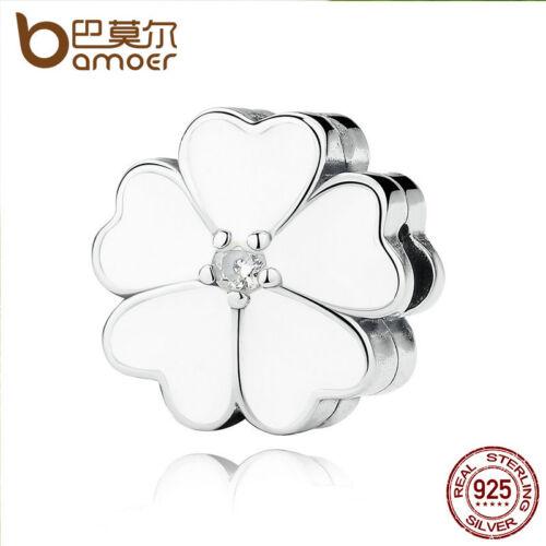 Bamoer Authentique S925 Sterling Silver Charm Blanc Primrose Clip Montage Bracelet