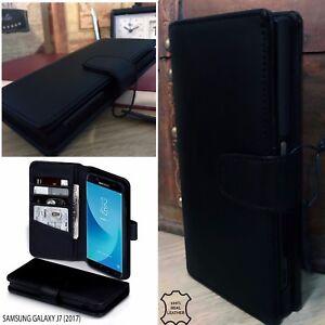 Samsung-Galaxy-J7-2017-Italian-Real-Leather-Wallet-Pelle-Vera-Book-Case-Black