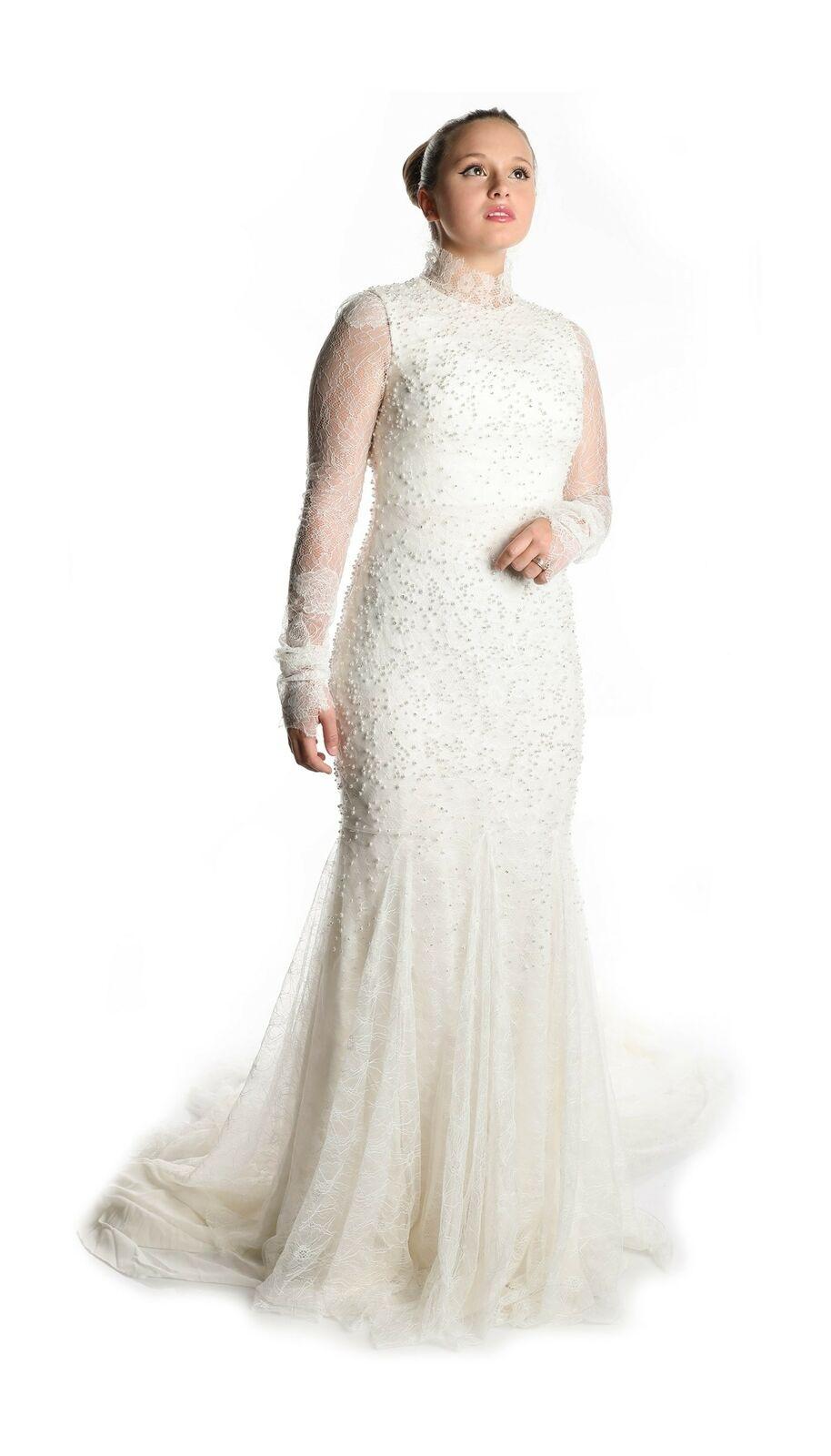 Vera Wang The Waverly Wedding dress Lace Silhouette embellished beads size US 8