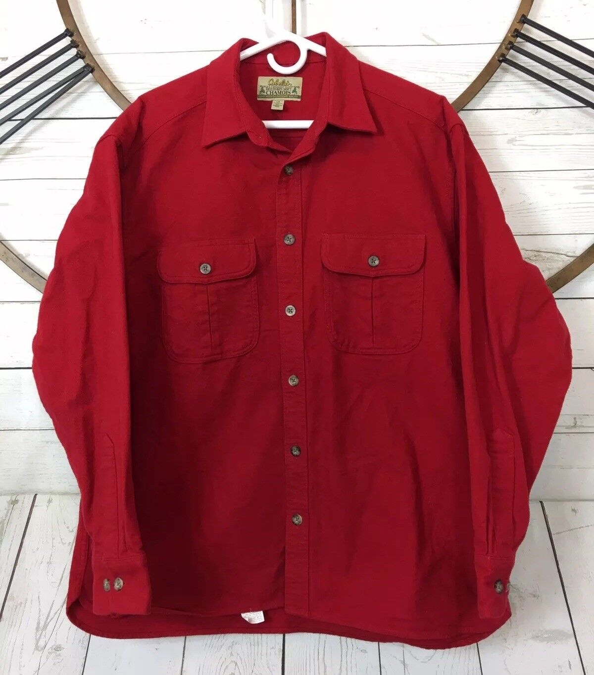 Cabela's Heavyweight Deerskin Soft Chamois Mens Button Up Shirt Red Size Large