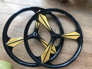 700c Disc Wheelset >> 700C Road Bike 3-Spoke Mag Wheels Wheelset Set Rims Disc Brake 6/7 Speed W/QR | eBay