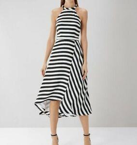 Coast-White-Black-Stripe-Midi-Cocktail-Party-Halterneck-Long-Dress-UK-6-to-24