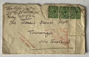 3-x-Half-Penny-Green-1940-039-s-Stamp-on-Envelope-Addressed-to-New-Zealand