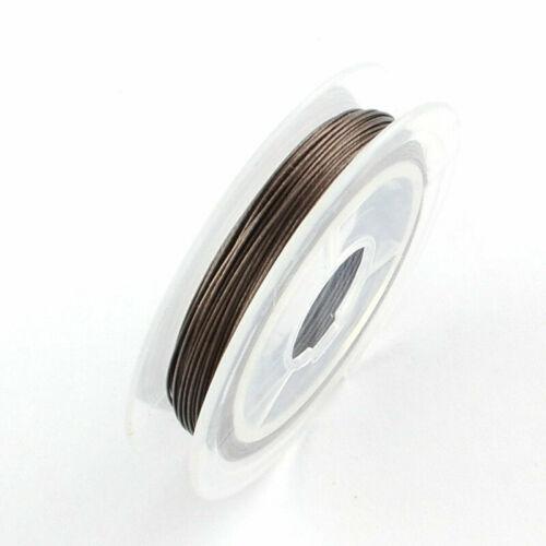 10m Bobine Fil Acier 0.4mm Souple Couleurs au Choix fil pour bijoux Tiger Tail