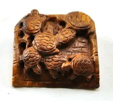 Vintage Turtle Boxwood Natural Wood Hand Carved Carving Figurine Miniature