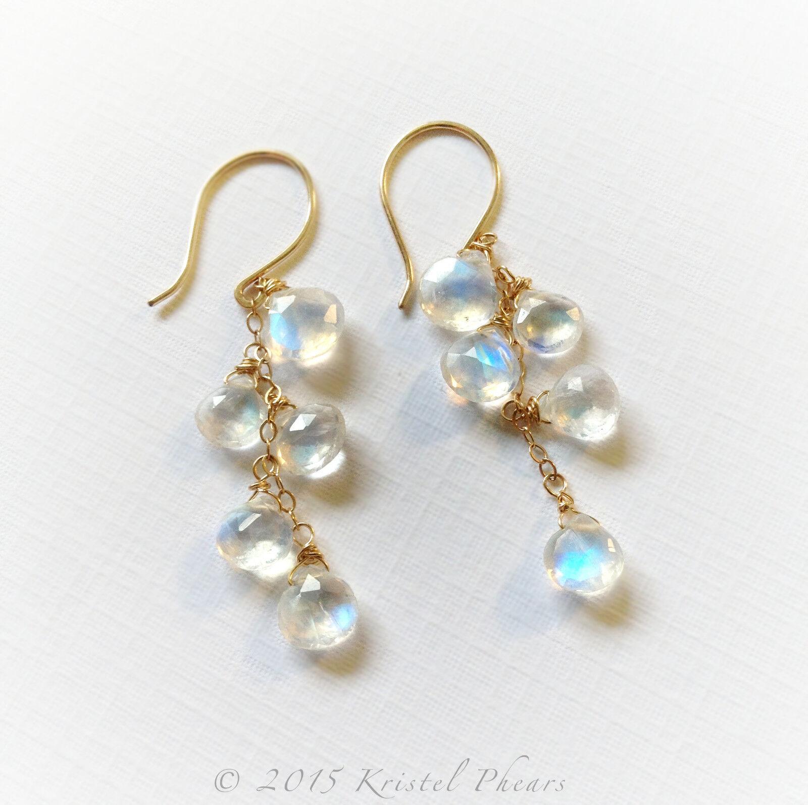 Rainbow Moonstone Earrings, Solid 14k gold, bluee bridal cascade cluster earring