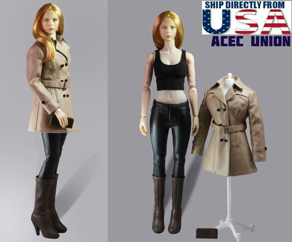 1 6  femmes cuir Trench Coat Set E For 12  Phicen TBLeague Hot Toys Female USA  les clients d'abord