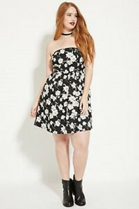 c79389d59ad NWT Forever 21 Strapless Black and White Floral Dress Plus Size 1X ...