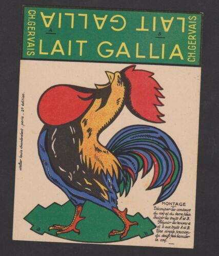 DECOUPAGE//PLIAGE AMUSANTE PUBLICITE ANCIENNE LAIT GALLIA//CH.GERVAIS COQ