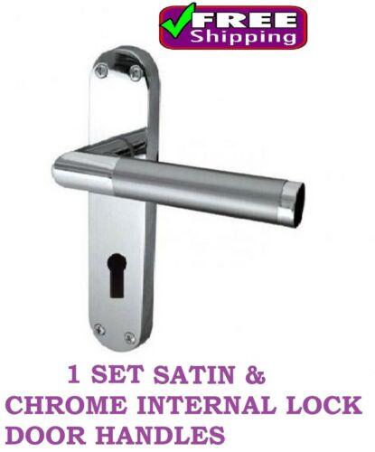 1 PAIR Mitred Lever Internal LOCK Door Handle Satin Chrome Duo Finish D11