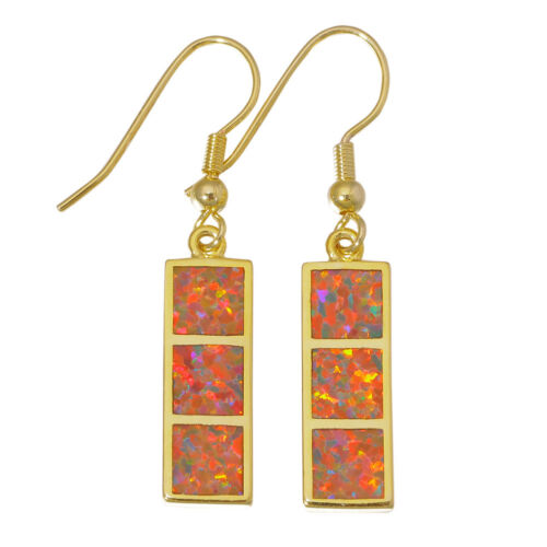 Orange Green Opal Yellow Gold Plated Women Jewelry Dangle Earrings OH4457-58