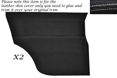 White stitch 2 cartes de porte arrière peau de cuir couvre fits Mini Cooper Classique