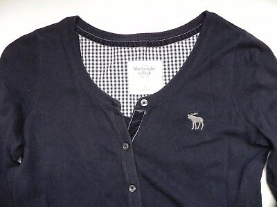 Abercrombie & Fitch~Navy Blue 3/4 sleeve Cardigan Sweater size Small