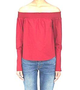 6282cd117bcb73 DEREK LAM 10 CROSBY Tomato Red Poppy Off-The-Shoulder Cotton Poplin ...