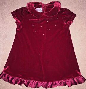 Plum-Pudding-Red-Christmas-Dress-Rhinestones-Sparkle-Velvet-Baby-Girls-6-mo-EUC