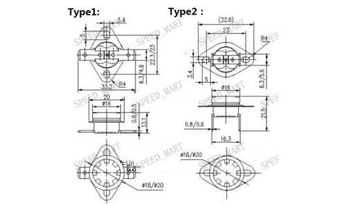 5 pcs Temperature Switch Control Sensor Thermal Thermostat 60°C N.C KSD301