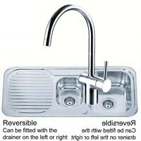 Stainless Steel 1.5 Bowl Kitchen Sink & Chrome Side Lever Mixer Tap ST097