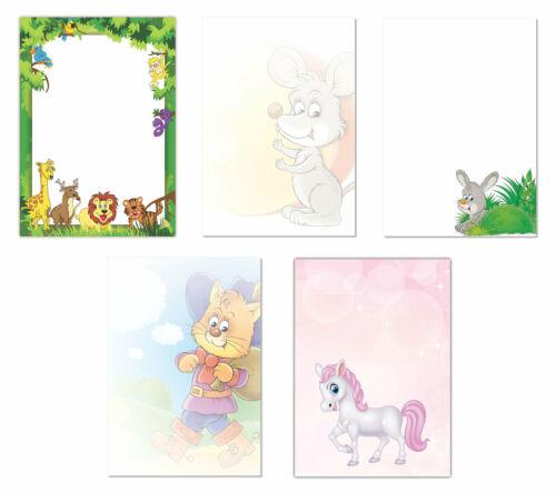 Kinder-5224 5x5 Blatt Motiv Briefpapier DIN A4 Maus Kater Hase Pony Dschungel