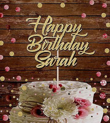 Pleasant Happy Birthday Custom Name Glitter Cake Topper Birthday Party Funny Birthday Cards Online Necthendildamsfinfo