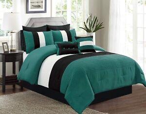 6pc Twin Teal Blue Black White Pin Tuck Stripe Regatta Comforter Set Bedding Ebay