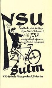 NSU-Velo-SUlm-publicitaires-de-1927-Neckarsulm-roue-Qualite-effort-FORCE-AD