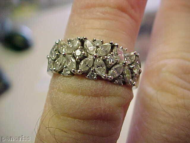 18K WHITE gold DIAMOND ESTATE RING  SIZE 5-1 2 MUST SEE