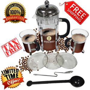 French-Press-34oz-Tea-Coffee-Maker-Stainless-Steel-2-Bonus-Mugs-6-Total-Filters