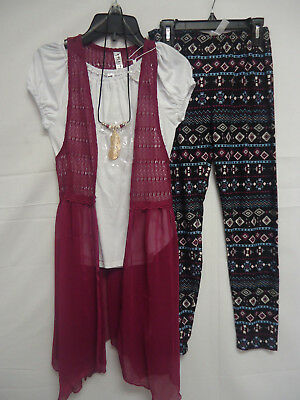 Beautees Girls/' 2 Piece Outfit Set Leggings Pants Tunic Top GREEN M 10//12