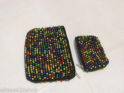 Color beaded beads change purse set vintage antique RARE rasta wallet 2pc