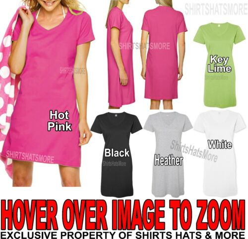 Ladies Coverup Dress Soft Ringspun Cotton Beach Womens NightShirt S/M L/XL 2X/3X