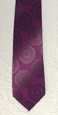 Vintage 1960s hippie tie TOPMAN Silver grey & pink brocade Striped pattern
