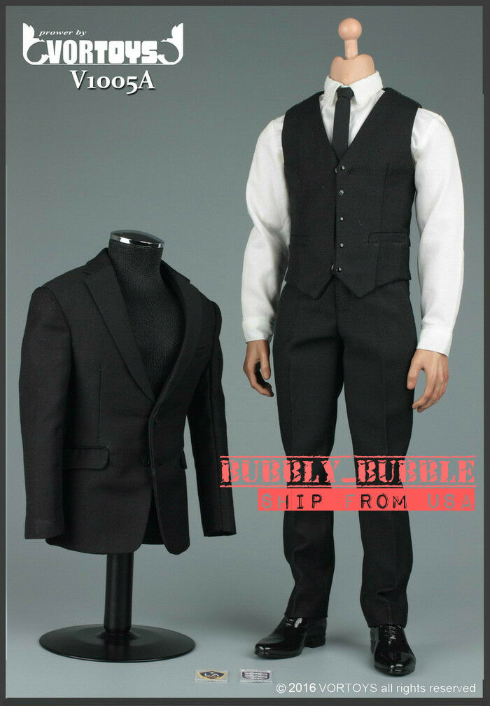 1 6 Gentlemen Business Suit Set A For 12  Hot Toys Male Figure  SHIP FROM USA