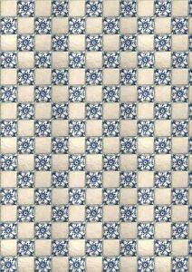 # 3 SHEETS tile ART FLOORING 1/24 SCALE ,VINYL PAPER SELF ADHESIVE CODE 289fbu3