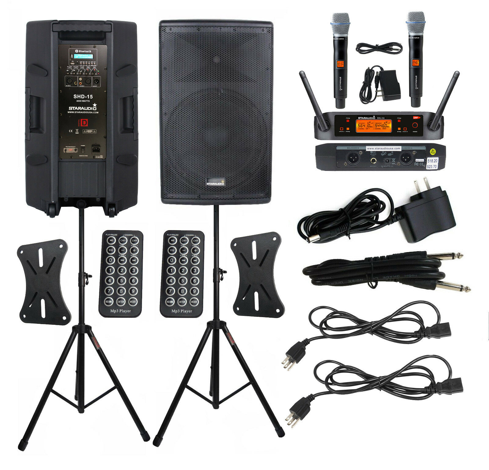 STARAUDIO Pair 15 Inch Powered 4000W DJ Speakers Audio PA Stands 2CH Party Mic