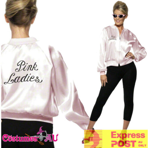 Pink Ladies Jacket 50s 1950/'s Grease Lady Satin Costume 50/'s Embroidery Letter