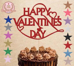 Happy Valentine's Day Glitter Cake Topper Happy Valentine Decoration
