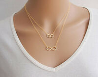 21i Gold Or Silver Double Infinity Symbol Pendant Necklace - Choose Color