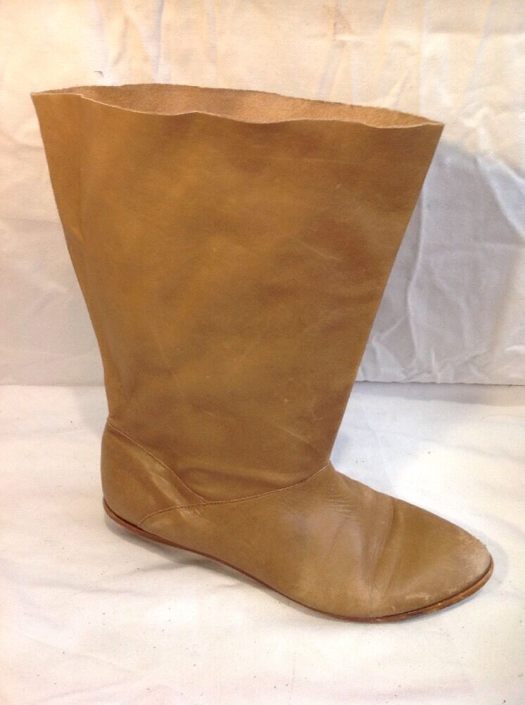 Zara Brown Mid Calf Leather Boots Size 40
