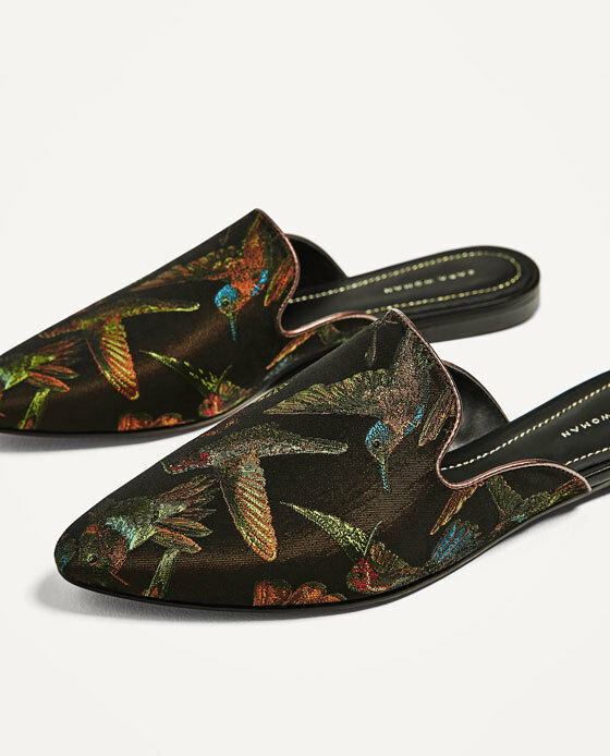 ZARA BLACK Schuhe EMBROIDEROT MULES SLINGBACK FLAT Schuhe BLACK SS17 SIZE 7UK 40EUR NEW TAGS daa410