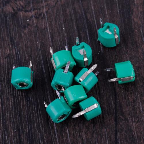 10pc 30pF Capacitors Variable Trimmer 2 Pins Plastic Metal Green Case Adjustable