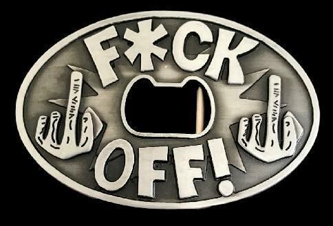 F*ck Off Middle Finger Bottle Opener Funny Bar Joke Belt Buckle
